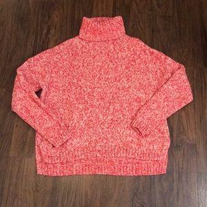 Marled Red/Pink/Cream Turtleneck Sweater